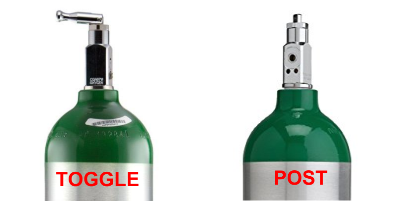 CGA medical oxygen tank toogle vs post valve