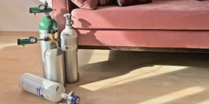 a selection of oxygen tanks for home ozone therapy