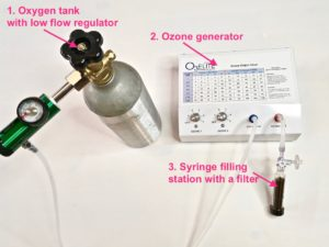 oxygen tank and ozone generator for rectal insufflations