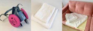 mask, towels, plastic