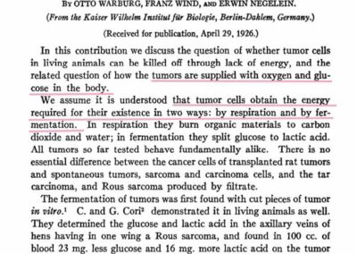 "Otto Warburg ""The Metabolism of Tumors in the Body"""