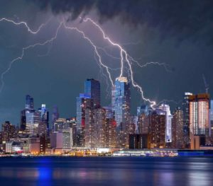 Lightning hits New York