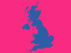 united kingdom on pink background